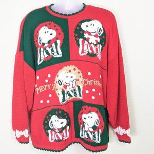 Snoopy and Friends Sweater Large Christmas Red